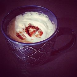 Just what I needed: spiked malted bourbon milk tea sprinkled with cinnamon and nutmeg.