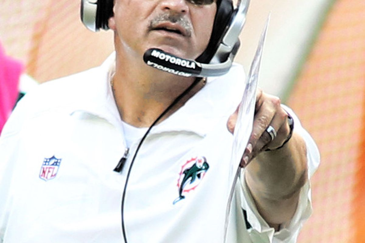 MIAMI GARDENS, FL - OCTOBER 23:  Head coach Tony Sparano of the Miami Dolphins watches his team  taking on the Denver Broncos at Sun Life Stadium on October 23, 2011 in Miami Gardens, Florida.  (Photo by Marc Serota/Getty Images)