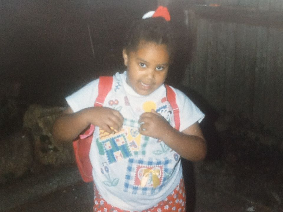 Chalkbeat reporter Laura Faith Kebede rocks her new backpack on her first day of kindergarten in North Carolina.