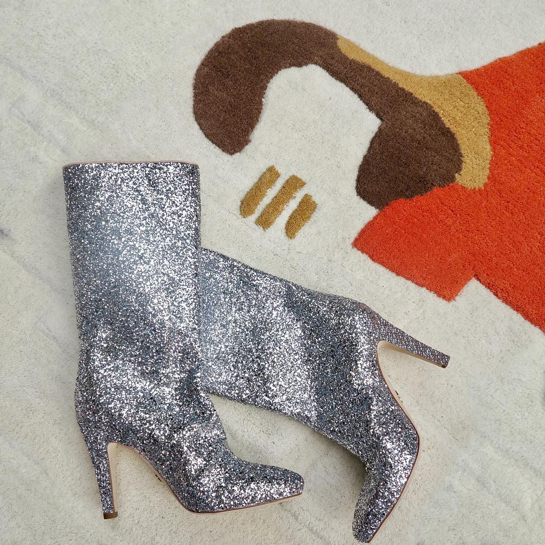 Silver sparkly boots