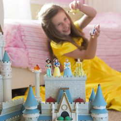 A little princess playing with princess toys. New research says Disney princess culture may limit girls' futures by stereotyping them.   Photography by: Mark A. Philbrick/BYU Photo  Copyright BYU Photo 2016 All Rights Reserved photo@byu.edu (801)422-7322  4864