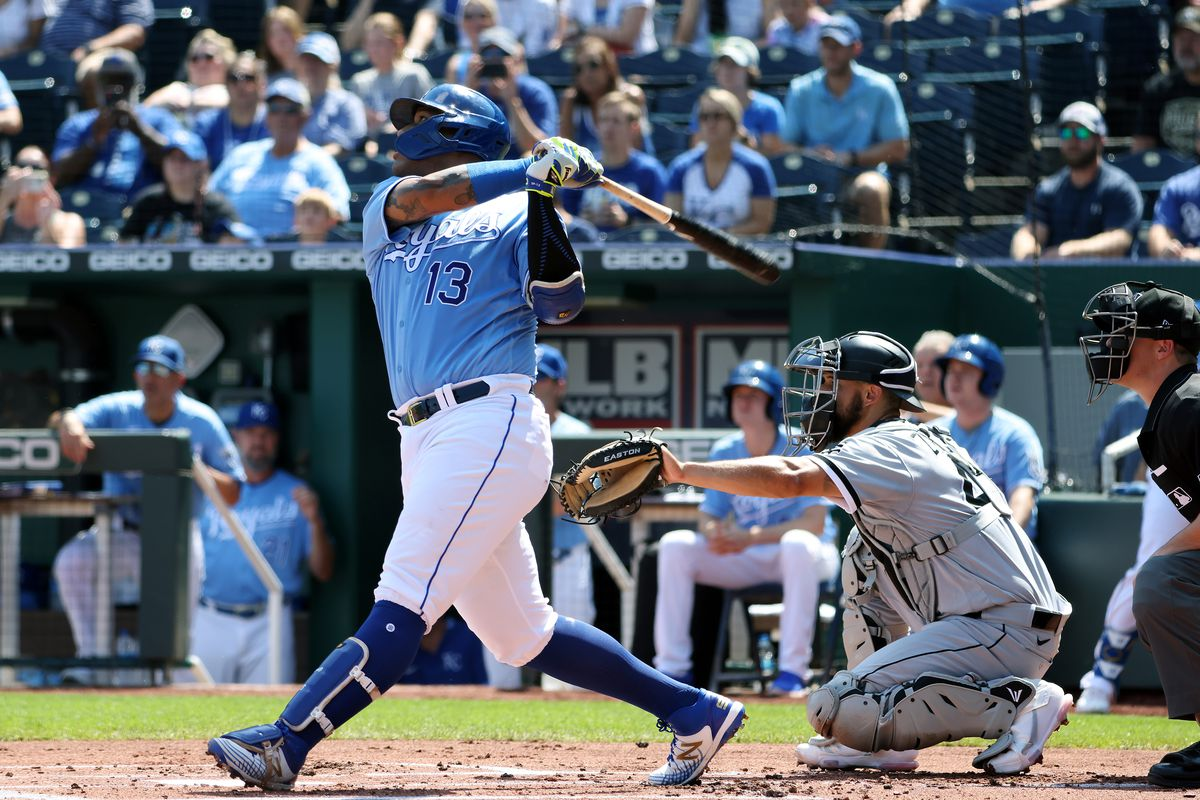 Salvador Perez #13 of the Kansas City Royals hits a three-run home run during the 1st inning of the game against the Chicago White Sox at Kauffman Stadium on September 05, 2021 in Kansas City, Missouri.