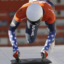Matthew Antoine of the United States competes at the skeleton World Cup event on Friday, Dec. 6, 2013, in Park City. Antoine came in third place.