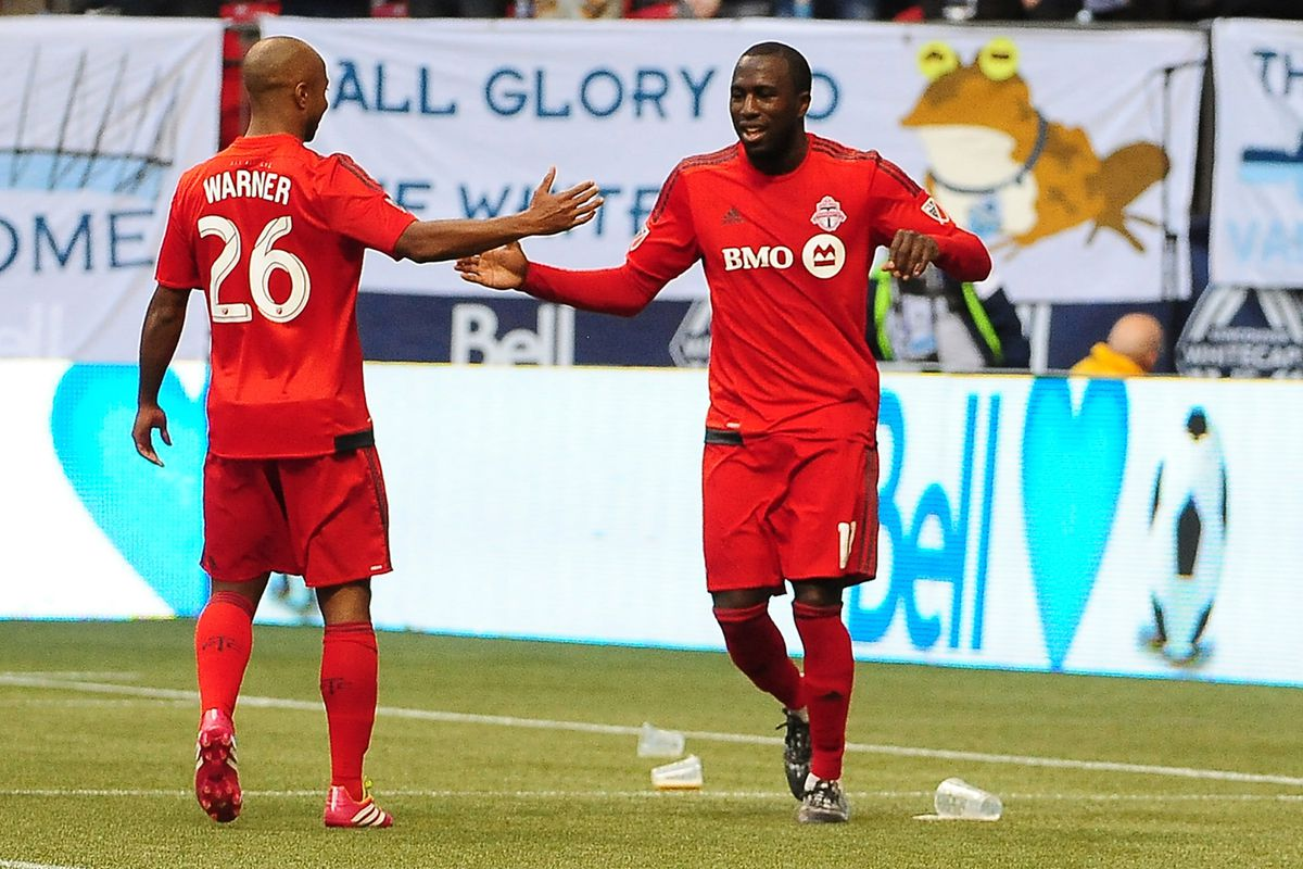 Jozy Altidore celebrating one of his two goals against Vancouver