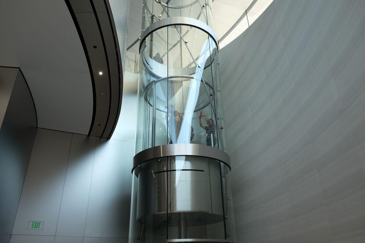 Spiral elevator, Steve Jobs Theater at Apple Park, iPhone X event, Sept. 12, 2017