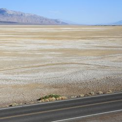 A runner passes the salt pans of Death Valley during the AdventurCORPS Badwater 135