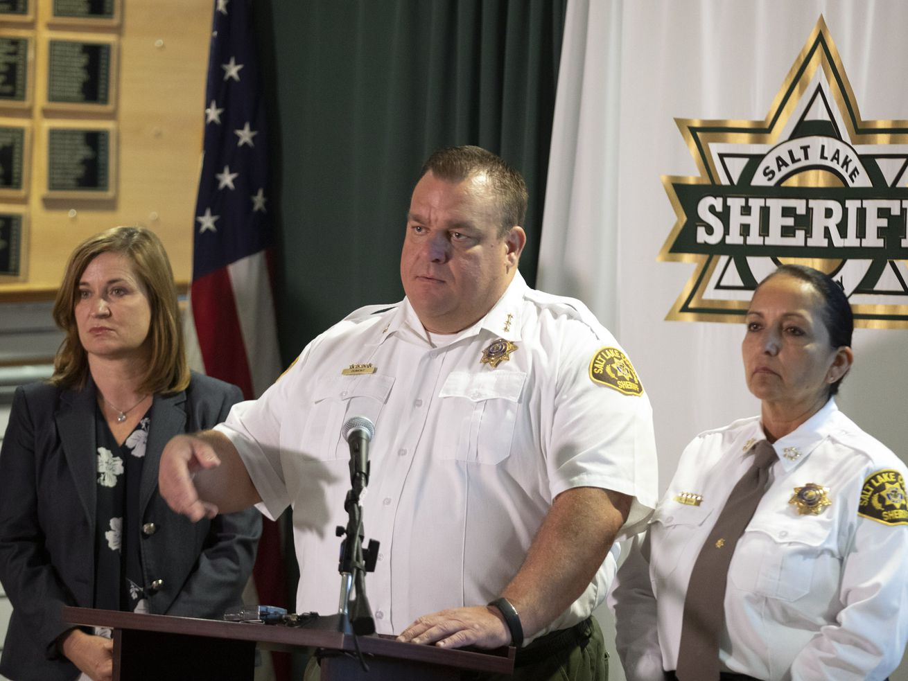 Salt Lake County Mayor Jenny Wilson, left, Salt Lake County Sheriff's Chief Deputy Matt Dumont and Salt Lake County Sheriff Rosie Rivera unveil a new public information tool for the Salt Lake County Jail during a press conference at the Salt Lake County Sheriff's Office in South Salt Lake on Wednesday, Aug. 14, 2019. The Jail Dashboard pulls data from the jail's data system and is updated every day.