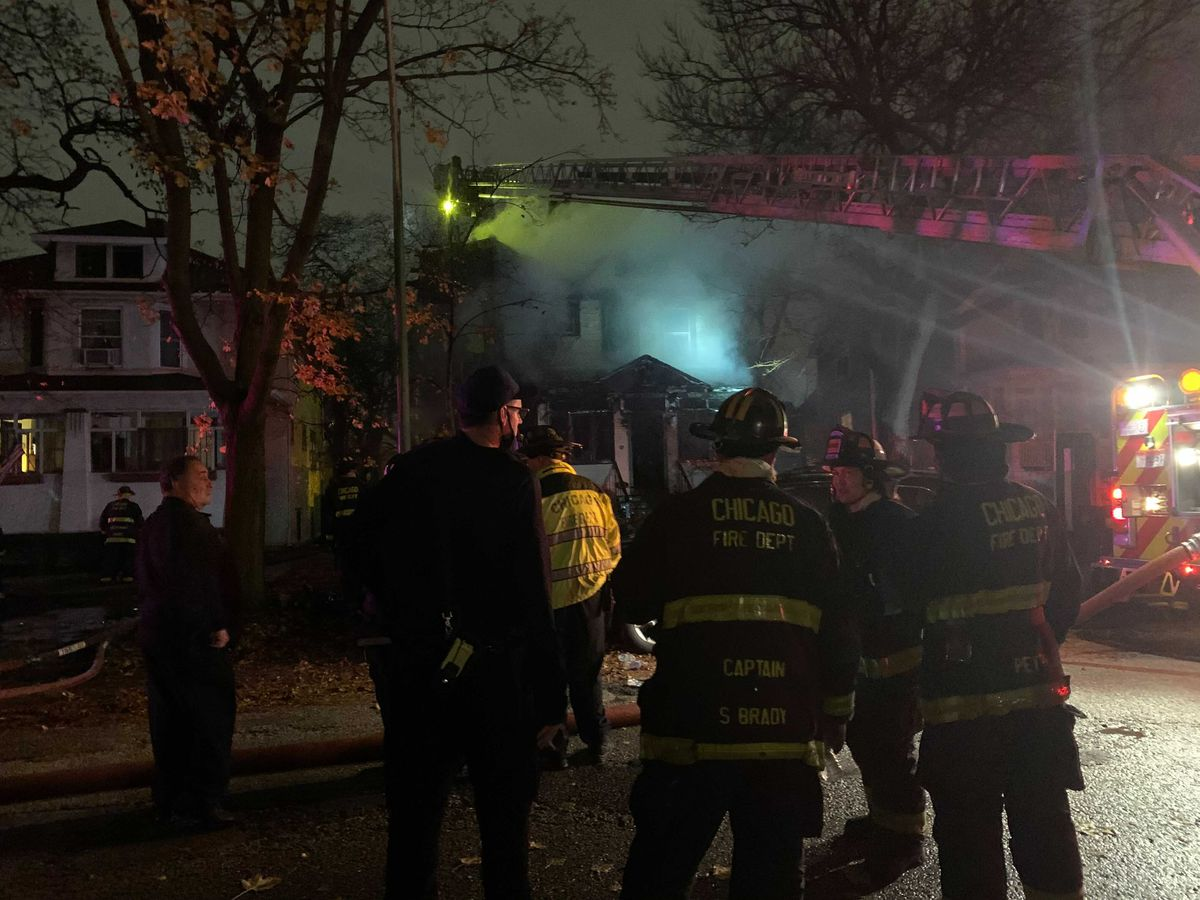 A fire gutted a house in the 4200 block North Kildare Thursday night, and an elderly couple was found dead inside.