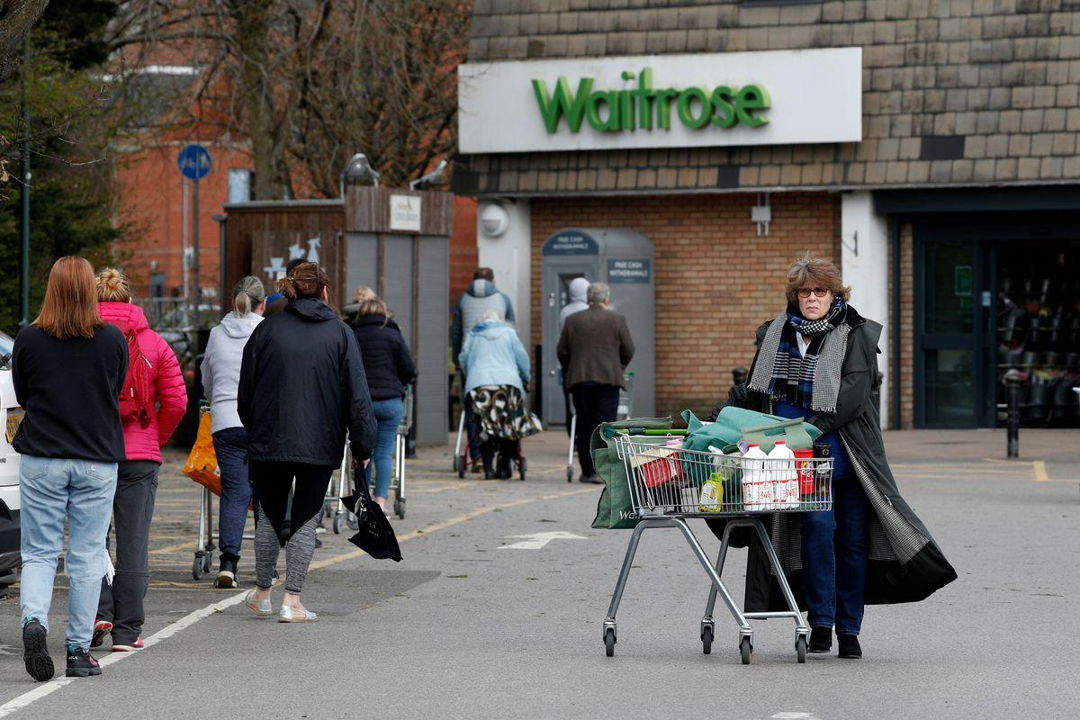 Outside Waitrose supermarket in south west London
