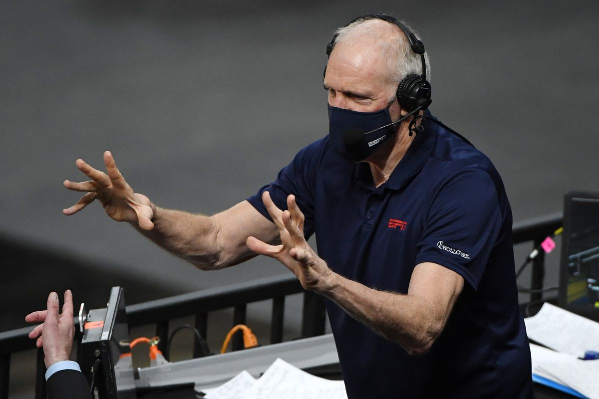 Sportscaster and former NBA player Bill Walton jokes around before broadcasting the championship game of the Pac-12 Conference basketball tournament between the Oregon State Beavers and the Colorado Buffaloes at T-Mobile Arena on March 13, 2021 in Las Vegas, Nevada.