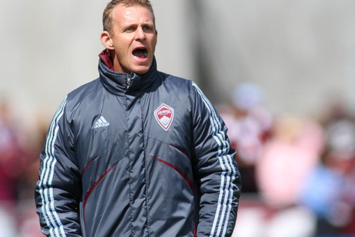 COMMERCE CITY, CO - APRIL 03: Head coach Gary Smith of the Colorado Rapids looks on during the first half of the MLS soccer match at Dick's Sporting Goods Park on April 3, 2010 in Commerce City, Colorado. (Photo by Marc Piscotty/Getty Images)