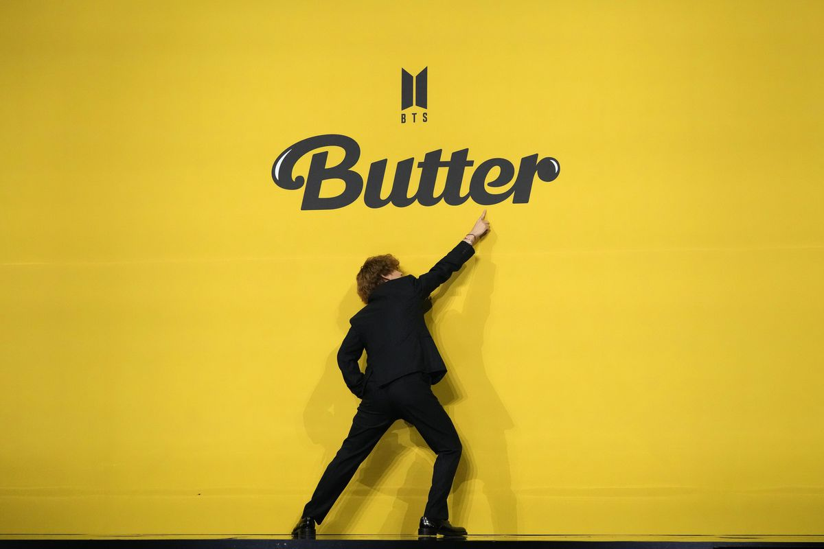 """V, a member of South Korean K-pop band BTS, introduces the group's new single """"Butter"""" in Seoul, South Korea."""
