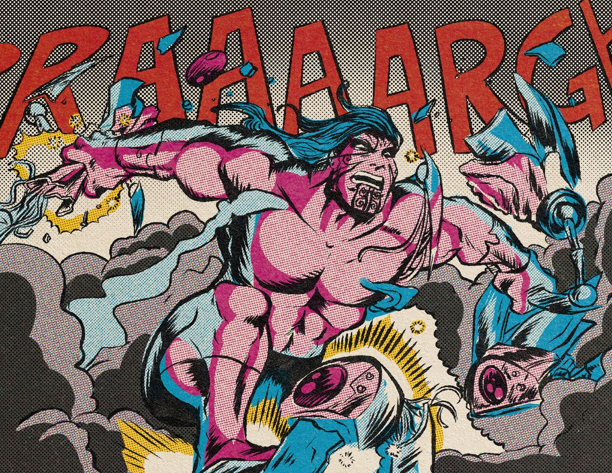 Another massive superhero, with the body of a pro wrestler, tears a robot apart with his bare hands.