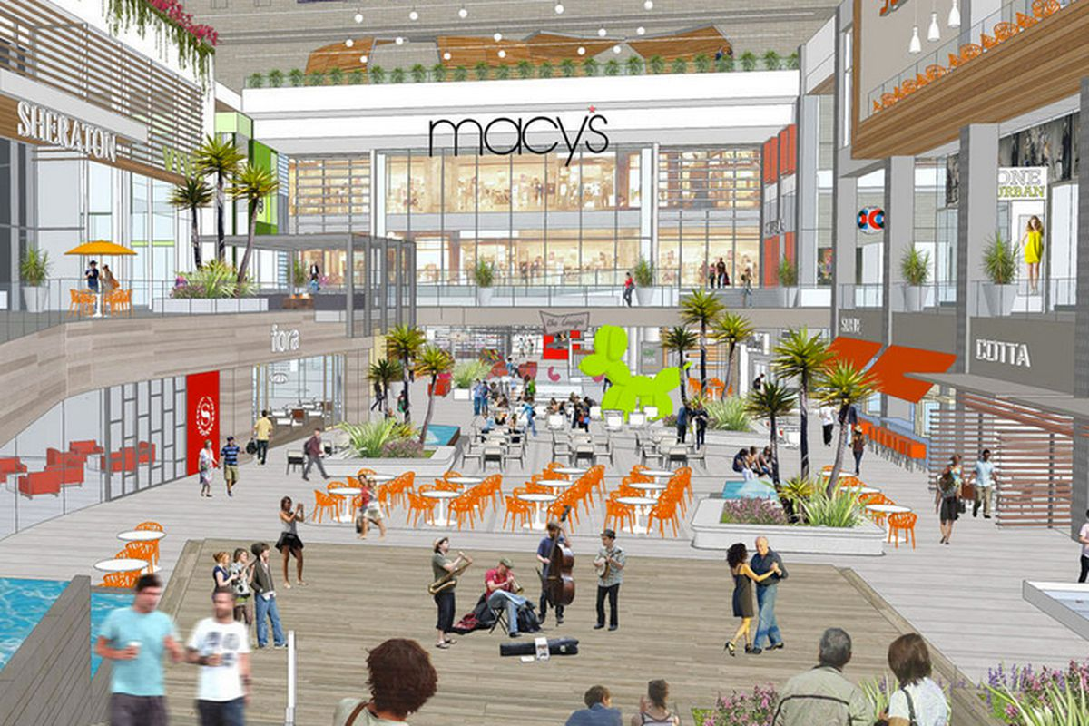 """Rendering via <a href=""""http://la.curbed.com/archives/2013/08/heres_the_open_new_look_for_downtowns_macys_fortress.php"""">Curbed LA</a>"""