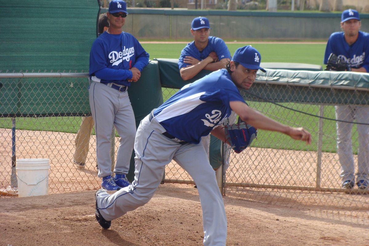 Padilla threw off a mound Friday for the first time since his surgery on February 24. (<em>David Young   True Blue LA</em>)