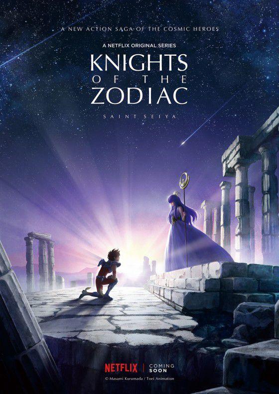 Seiya, a knight, kneels before the goddess Athena in Greek ruins