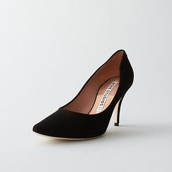 """Acne Lola suede pump, <a href=""""http://www.stevenalan.com/Lola-Suede-Pump/F13_NA_F13-SUEDE,default,pd.html?dwvar_F13__NA__F13-SUEDE_color=BLACK#cgid=sale-styles-going-fast-womens-sale-edit&start=0&hitcount=18"""">$241.50</a> at Steven Alan"""