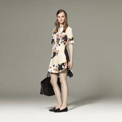 Shirt Dress in Paper Floral Print, $39.99; Tote Bag in Black, $54.99