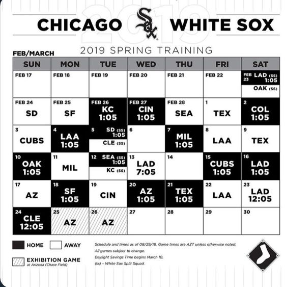 Spring Training Schedule White Sox Chicago Sun Times