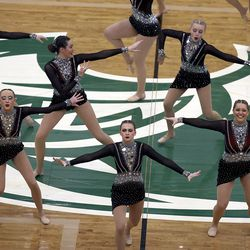 Lehi High School's drill team competes in the dance category of the 5A state finals at the UCCU Center in Orem on Thursday, Feb. 4, 2021. Other categories are military and show.
