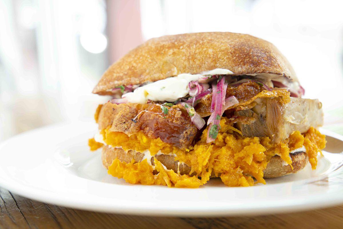 Roasted pork sandwich at Bisq at Time Out Market Boston (sweet potato, ciabatta, mayo, salsa criolla)