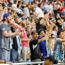 July 27, 2019 - Saint Paul, Minnesota, United States - Fans shout for a VAR review of a possible handball in the box during the Minnesota United vs Vancouver Whitecaps match at Allianz Field.