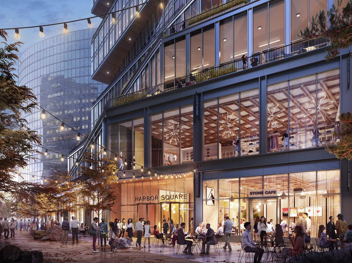 Rendering of a busy streetscape next to a glass tower.