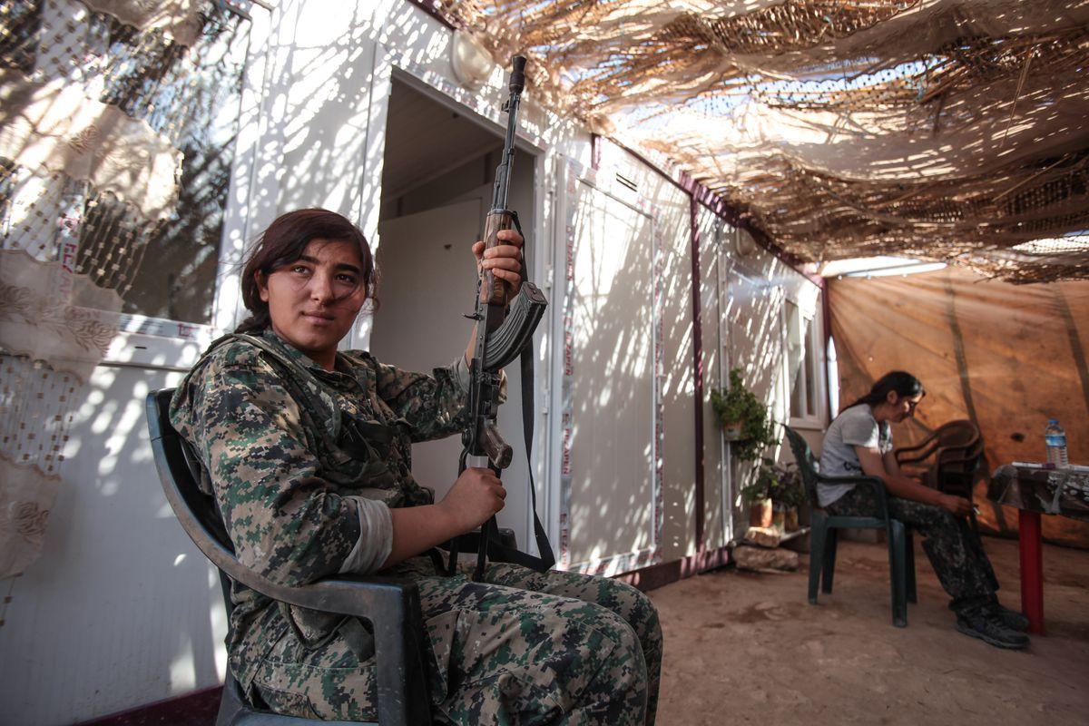 A Kurdish PYD fighter.