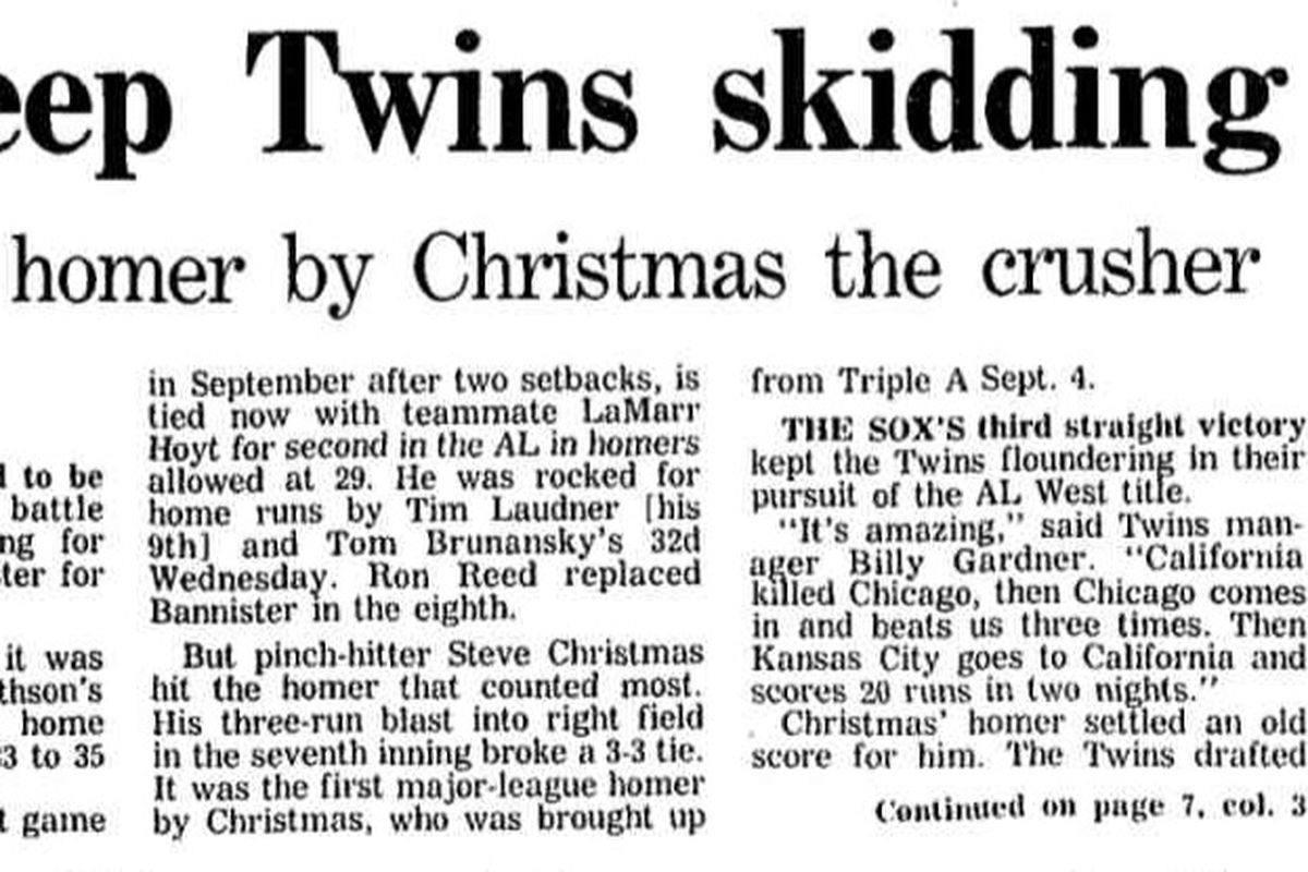 White Sox Feats of Strength: Steve Christmas\' only home run - South ...