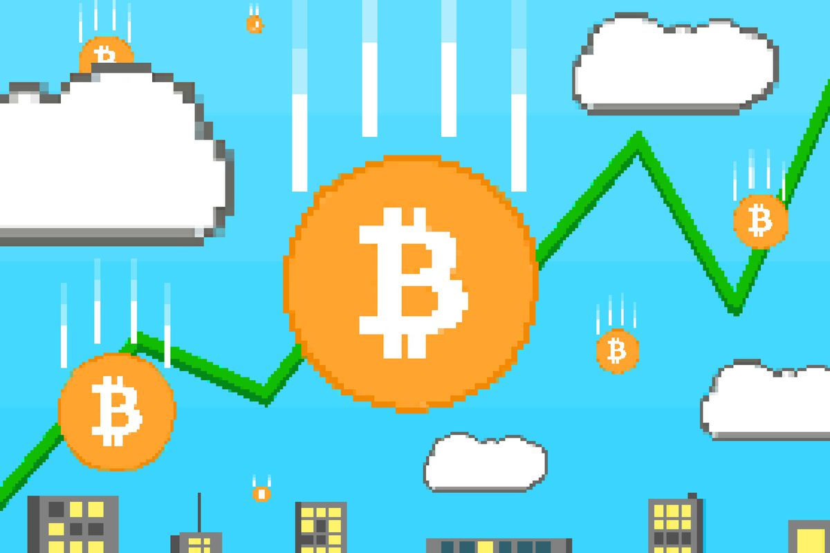 A visualization of bitcoin as if it were part of a 'Super Mario Bros.' game