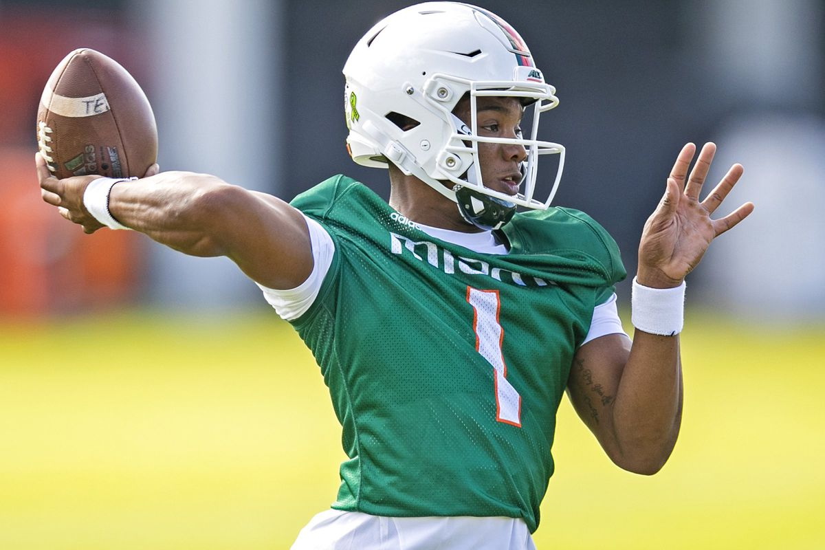 Miami Hurricanes quarterback D'Eriq King sets up to pass during practice on Monday, March 2, 2020 at the University of Miami's Greentree Field in Coral Gables, Fla.