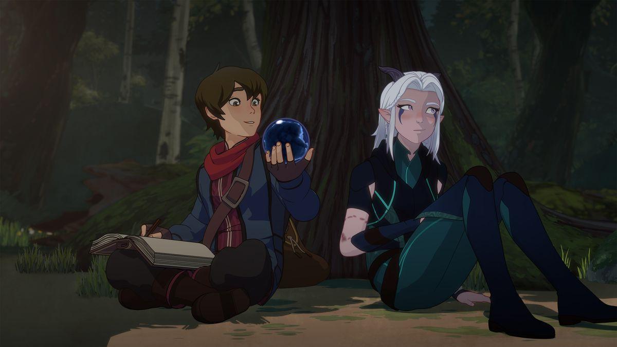 Prince Callum and Rayla sit beneath a tree.