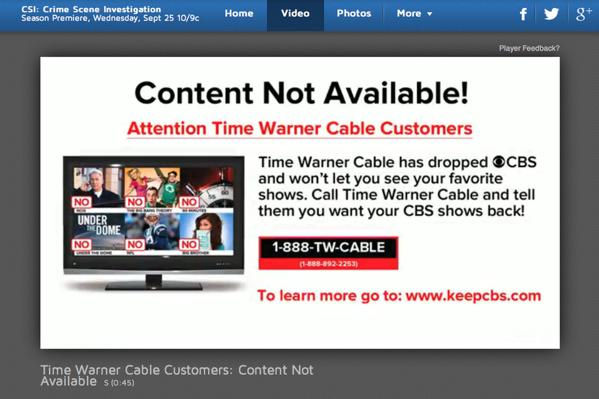 Is CBS's web blocking of Time Warner Cable customers illegal