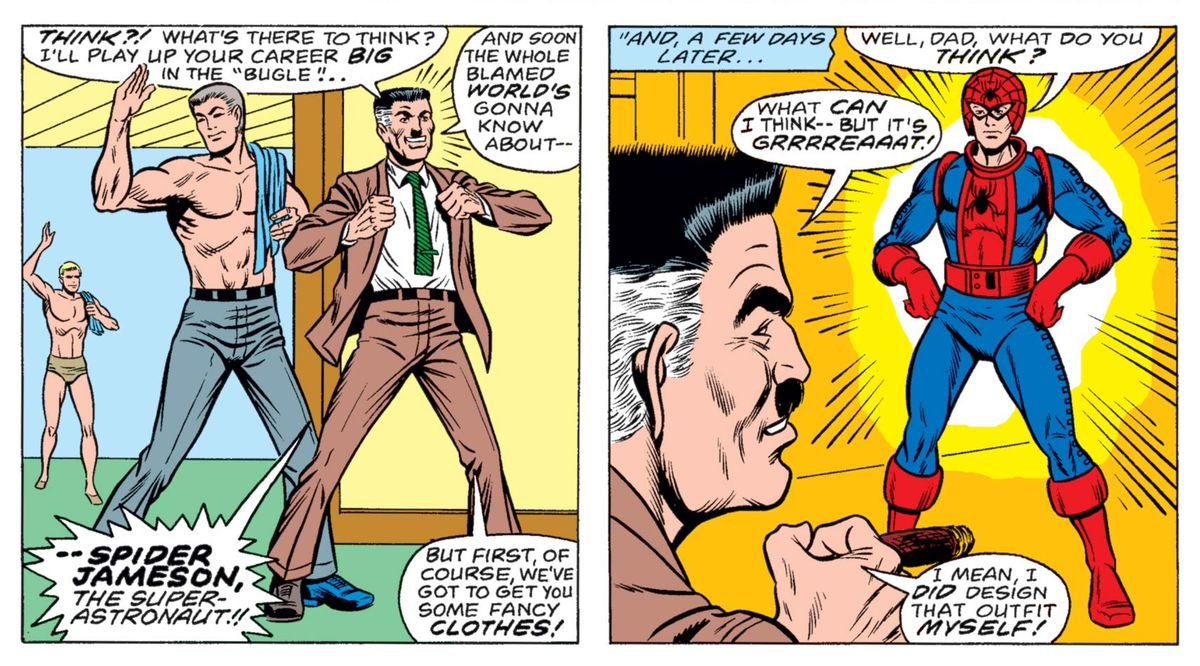 John Jameson III becomes Spider-Man, with J.J. Jameson II's approval, in What If...? #7, Marvel Comics (1977).