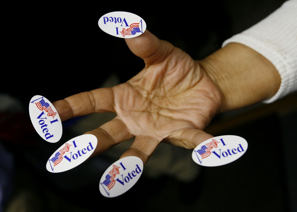 I Voted stickers hand