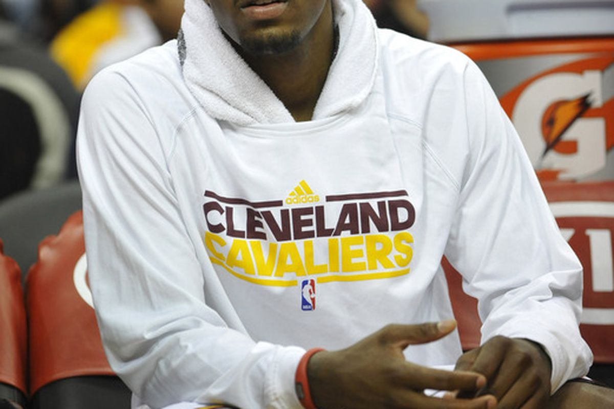 Apr 25, 2012; Cleveland, OH, USA; Cleveland Cavaliers point guard Kyrie Irving (2) sits on the bench in the second quarter against the Washington Wizards at Quicken Loans Arena. Mandatory Credit: David Richard-US PRESSWIRE