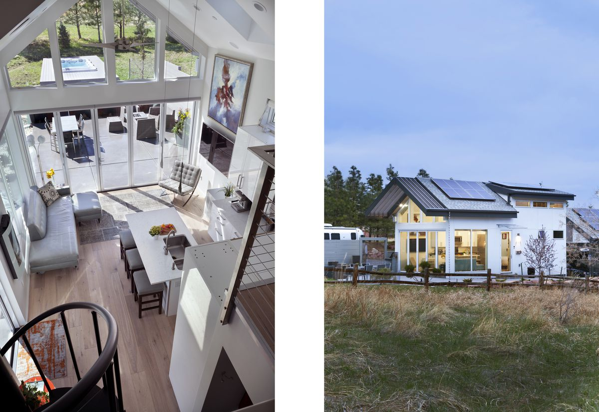 A view from the loft shows the kitchen, the living room, and the large outdoor space. An exterior shot shows several solar panels on the roof.