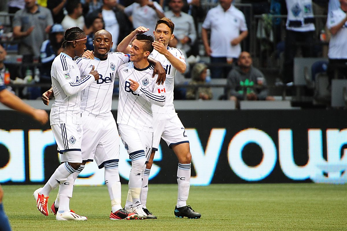 Teibert (second from the right) celebrating his second goal versus the LA Galaxy on May 11, 2013