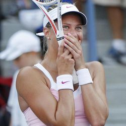 Czech Republic's Andrea Hlavackova reacts after winning her match against Russia's Maria Kirilenko in the third round of play at the 2012 US Open tennis tournament,  Saturday, Sept. 1, 2012, in New York.