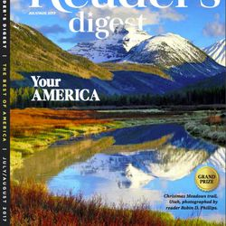 The June Reader's Digest cover featuring Utahn Robin Phillips' photograph of Christmas Meadows, Utah.