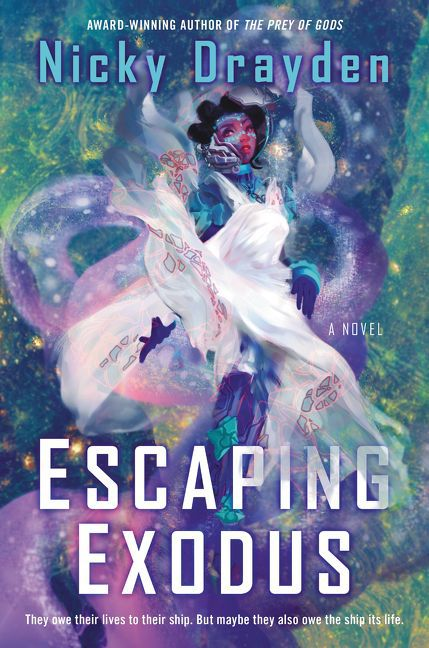 the cover for Escaping Exodus: a fantastical looking woman in a lush green and purple background; she is draped in a white cloak