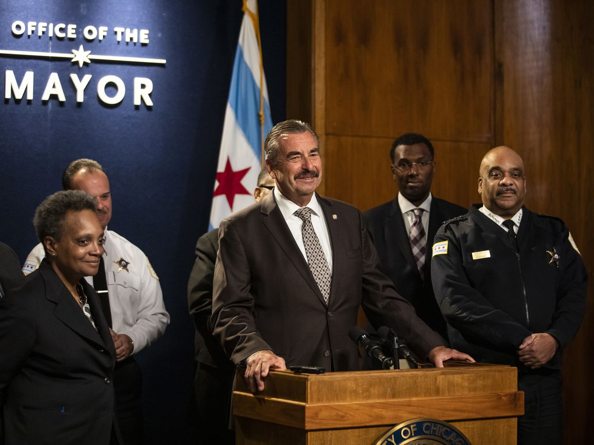 Former Los Angeles Police Chief Charlie Beck speaks during a press conference at City Hall after Mayor Lori Lightfoot officially announced he would be Chicago's interim police superintendent, Friday morning, Nov. 8, 2019.