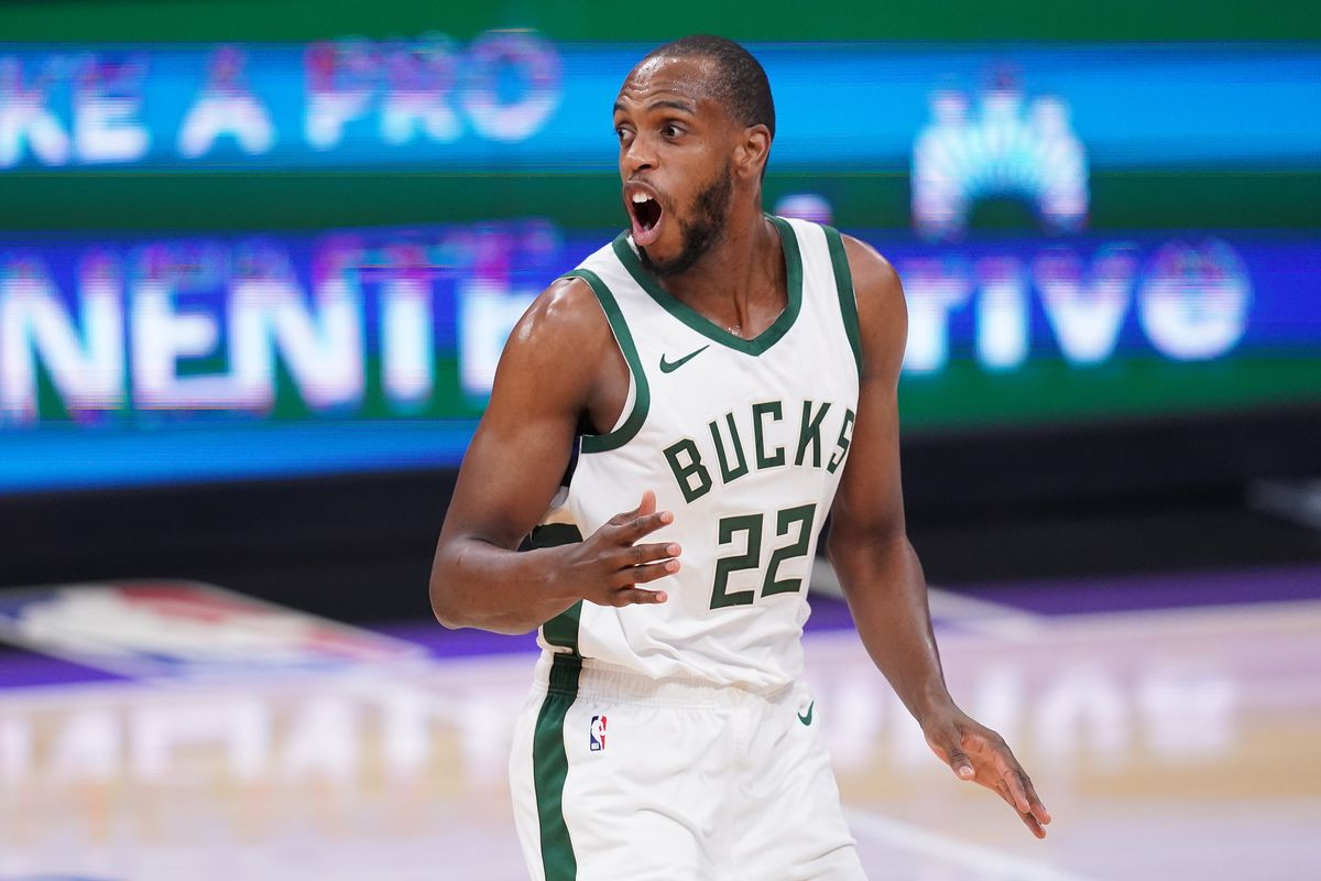 Milwaukee Bucks forward Khris Middleton reacts after the Bucks stole the ball against the Sacramento Kings in the first quarter at the Golden 1 Center.