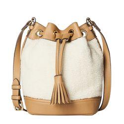 Shearling Drawstring Bucket Bag in Natural, $34.99