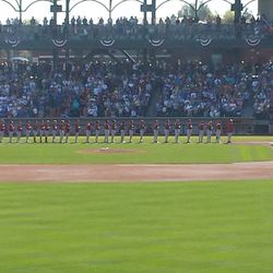Teams line up for pre-game ceremony