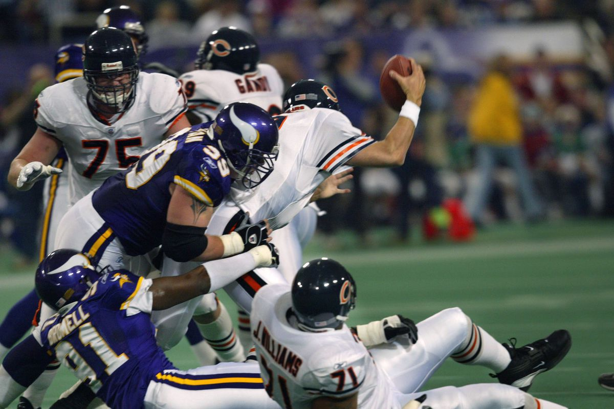 On thrid and ten, Chicago quarterback Chris Chandler is sacked at the Minnesota 39 for a loss of six yards by Viking tackle Chris Hovan and defensive end Lorenzo Brommel during the first quarter. the play forced the bears to punt. GENERAL INFORMATION: