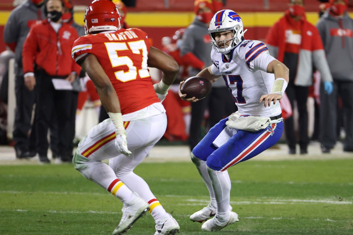 Josh Allen #17 of the Buffalo Bills runs with the ball in the second half against the Kansas City Chiefs during the AFC Championship game at Arrowhead Stadium on January 24, 2021 in Kansas City, Missouri.