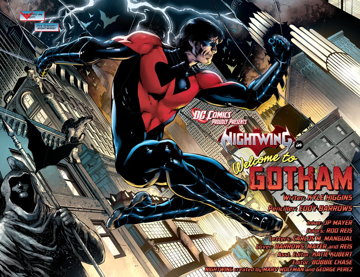 Dick Grayson/Nightwing swings across Gotham in a new red and black costume, instead of his traditional blue and black costume, in Nightwing #1 (2011).