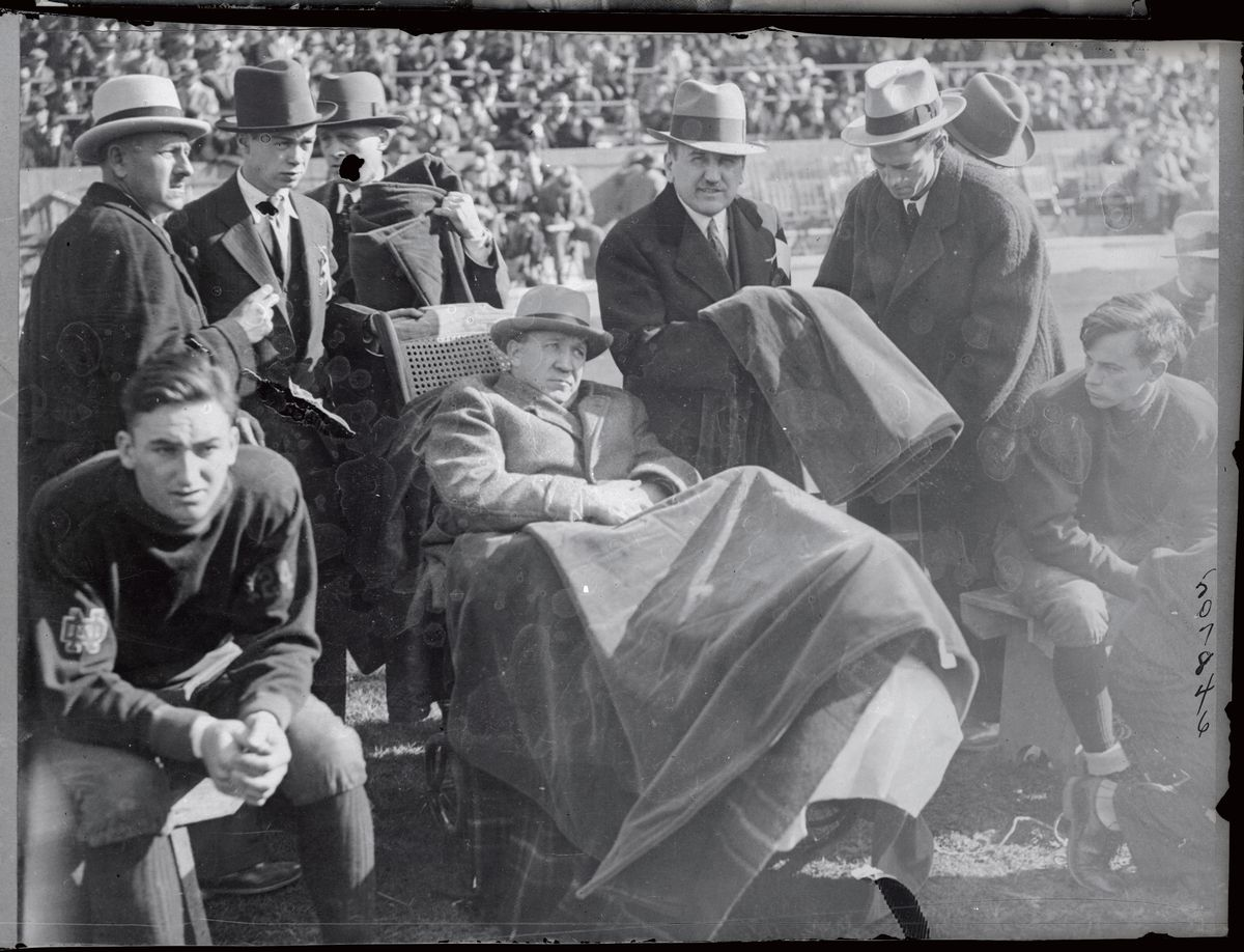 Knute Rockne Coaching from Wheel Chair