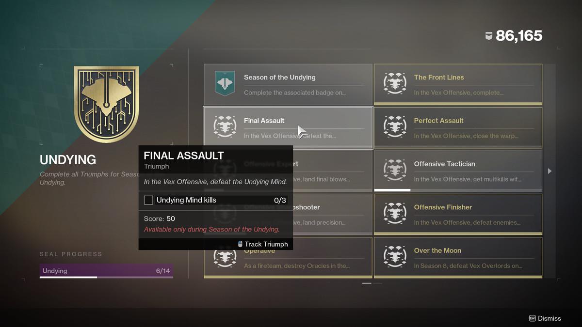 Destiny 2 triumph page